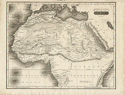 Original Antique Map of Northern and Central Africa by David Lizards. 1815.