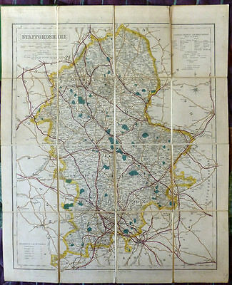 Staffordshire. Letts's Bicycle & Tourist Linen backed folding Map. Circa. 1875.
