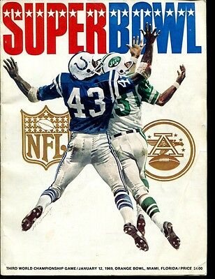 Super Bowl III 3 Program NY Jets v Baltimore Colts 1/12/1969 Joe Namath Ex 29785