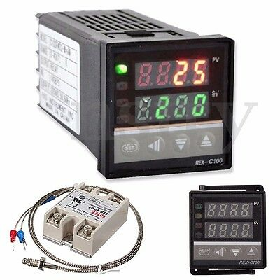 0-400℃ Digital PID Temperature Controller + 40A Max SSR +K Thermocouple Probe AU