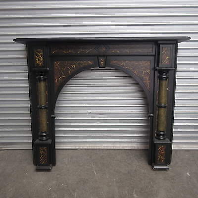 Fireplace / Timber Mantel – Black Timber With Faux Marble Inlay, Md5