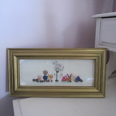 Pretty framed embroidered picture birdhouse & flowers gold frame
