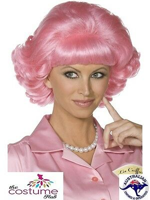 Pink Frenchy Curly Wig Grease 50s Pink Ladies Wig Hair Fancy Dress Costume