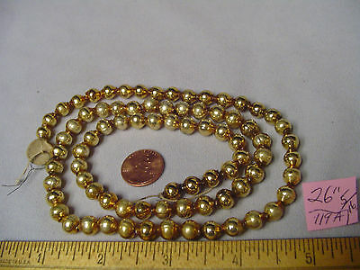 """Christmas Garland Mercury Glass Antique Gold 26"""" Long 5/16"""" Beads #119A Vintage"""