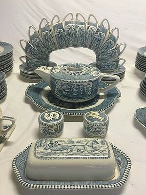 Rare Vtg Matching Double Scroll Set Currier Ives 112 Piece 10 Place Royal China