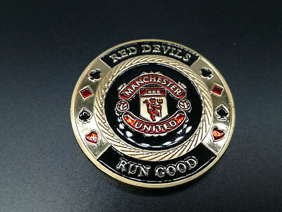 Red Devils MANCHESTER UNITED Golden Casino Poker Chip Coin Card Guard Protector