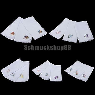 12x Vintage Women 100% Cotton Handkerchief Embroidery Lace Hanky Hankies