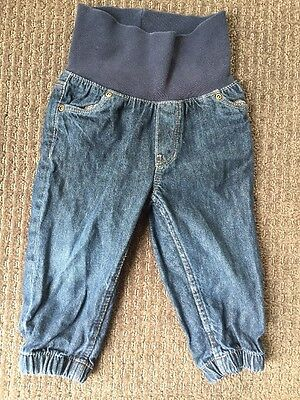 H&M Baby Denim Jeans Pull On Pants Navy Blue Colour Size 0, 9-12 Months