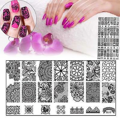 10 New Design DIY Nail Art Image Stamp Stamping Plates Manicure Template Tool AD