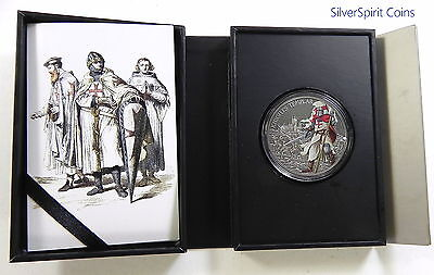 2017 KNIGHTS TEMPLAR WARRIORS OF HISTORY 1oz Antiqued Silver Coin