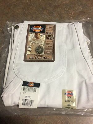 New DICKIES WHITE Painters Bib Overalls Color is White 30X34