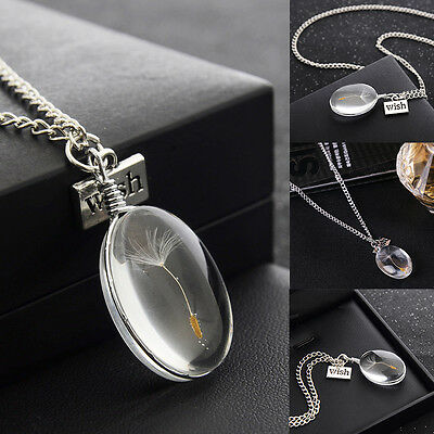 Make A Wish Real Dandelion Seed Water Drop Necklace Resin Dandelion Necklace