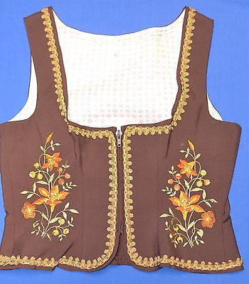 Traditional German Ladies Brown Vest w/embroidery EU42 (US 10)