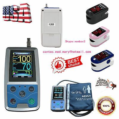NIBP Monitor 24HOUR Ambulatory Blood Pressure Holter ABPM50+SOFTWARE+Oximeter,US