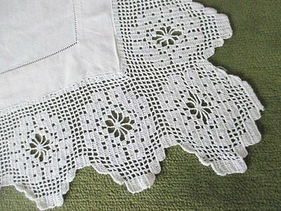 Antique Tablecloth - Irish Linen - Hand Crochet Edge