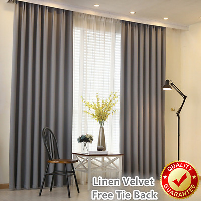 Grey Linen Velvet 80% Blockout Blackout Eyelet Curtains Drapes Free Tie back