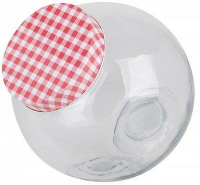 Glass Candy Storage Jar With Gingham Lid 1.4 Litres & 3.1 Litres Retro vintage