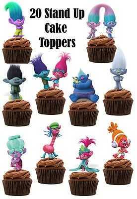Trolls (2016 Movie) Edible Wafer Card Stand up Cake toppers x 20