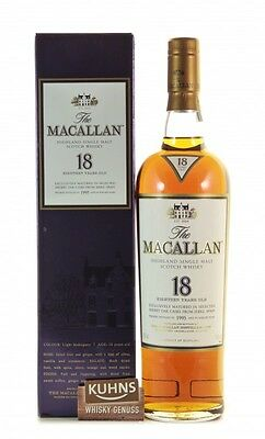 Macallan 18 Jahre Sherry 1995 Speyside Single Malt Scotch Whisky 0,7l, alc. 43%