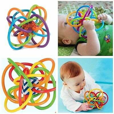 Baby Loud Bell Ball toy rattles Develop Intelligence Plastic Hand Bell Rattle HT