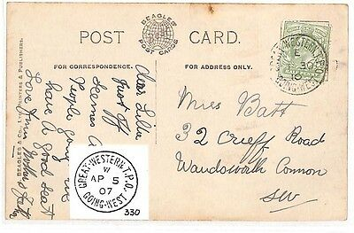 AZ371 1910 GB Railway *GREAT WESTERN TPO GOING WEST* Postcard LOndon