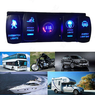 4GANG RV Car Boat Marine LED Laser Rocker Switch Panel Circuit Breaker Voltmeter