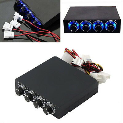 "3.5"" Bay Panel 4 X Pc Computer Led Cooling Fan Speed Temperature Controller Ht"
