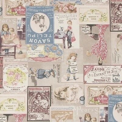 Vintage Savon French Soap Adverts 100% Cotton Linen Look Upholstery Fabric
