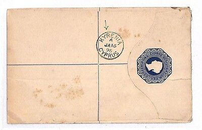 GG86 1895 Cyprus *KYRENIA*  Registered Postal Stationary{samwells}PTS