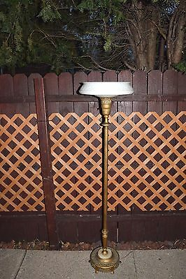 Vintage Torchiere Brass And Marble Floor Lamp Art Deco