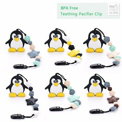 Penguin Silicone Teething Pacifier Baby Soother Chain Beads Bpa Free Teeth 2017