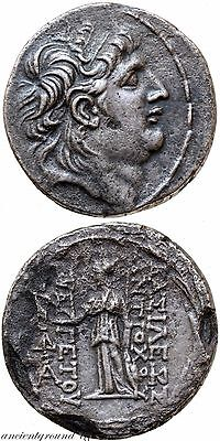 Ancient Greek Coin Silver Tetradrachm Coin Antiochos Vii Euergetes 138-129 Bc
