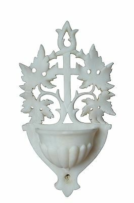 French Antique Large Hand Carved Alabaster Holy Water Font - Openwork White Wall