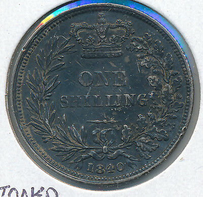 Great Britain Shilling 1840 - Darkly Toned VF
