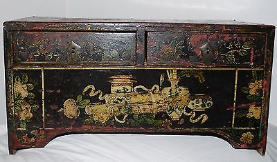 Rare 18th Century Two Drawers Chinese Black Lacquer Painted Small Cabinet