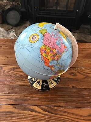 "Vintage 1950's Ohio Art Company 9"" Tin Metal World Globe with Zodiac Shabby Chic"