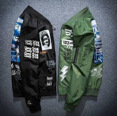 2018 Men's Air Jacket MA1 Army Flight Bomber Jacket Coat Embroidered bee Outwear