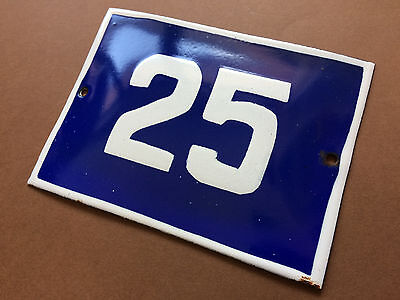 ANTIQUE VINTAGE ENAMEL SIGN HOUSE NUMBER 25 BLUE DOOR GATE STREET SIGN 1950's