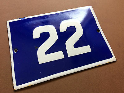 ANTIQUE VINTAGE ENAMEL SIGN HOUSE NUMBER 22 BLUE DOOR GATE STREET SIGN 1950's