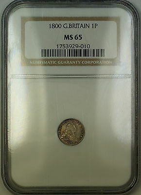 1800 Great Britain Maundy George III 1P Silver Penny Coin NGC MS-65 Gem BU