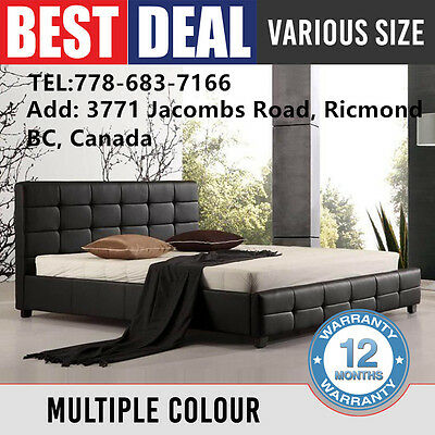 New Bed Frame Black White Double Queen King Padded PU Leather Slat Base