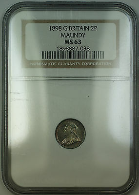1898 Great Britain Maundy Victoria Silver 2P Two Pence Coin NGC MS-63