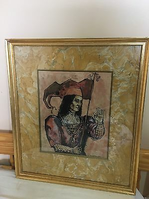 A framed And Glazed Mixed Media Study Of A Jester Indistinctly  Signed