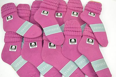 VINTAGE New Lot of 12 Pairs Cotton SLOUCH Baggy Socks Fuschia - 1980's