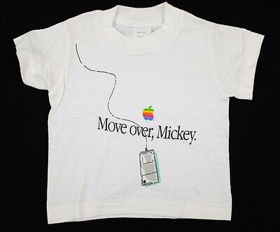 """Vtg 1980s """"Move over, Mickey"""" Baby/Toddler Apple T-Shirt 12 mos deadstock nos"""