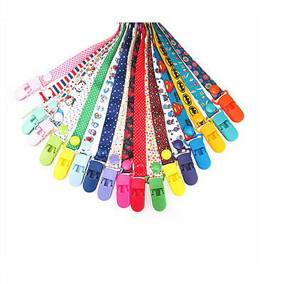 New Baby Pacifier Clip Chain Ribbon Holder Soother Pacifier Clips MW
