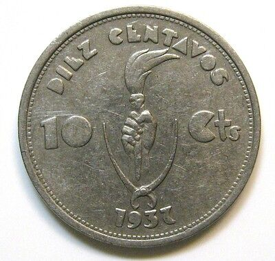 Bolivia 1937 10 Cents Vf Coin  1 Year Type Km# 180 Centavos