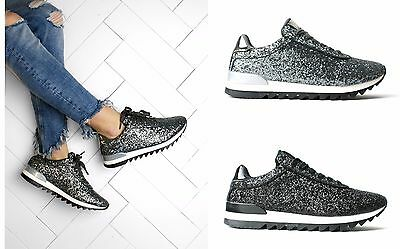Womens Trainers Ladies Lace Up Running Fitness Sports Diamante Glittery Shoes