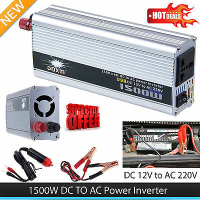 1500W Car DC 12V to AC 220V Power Inverter Charger Converter for Electronic HT