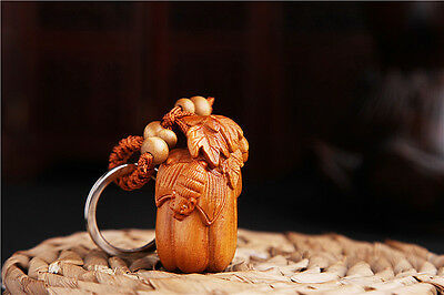Wood 3D Carving Chinese Wealth Bat Statue Sculpture Pendant Key Chain